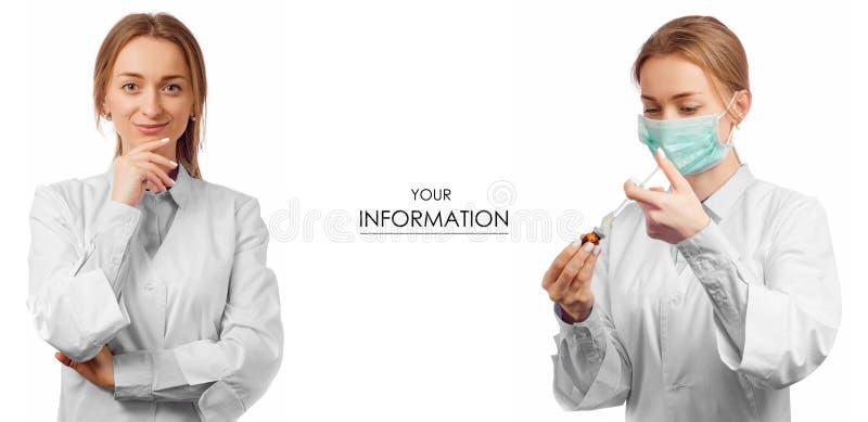 Doctor de la mujer en vestido médico con el modelo determinado de la medicina de la salud de la jeringuilla imágenes de archivo libres de regalías