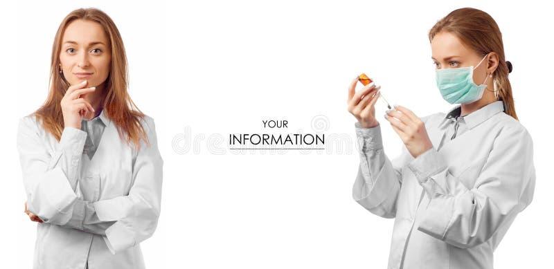 Doctor de la mujer en vestido médico con el modelo determinado de la medicina de la salud de la jeringuilla foto de archivo