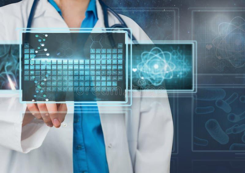 Doctor de la mujer que obra recíprocamente con los interfaces médicos stock de ilustración