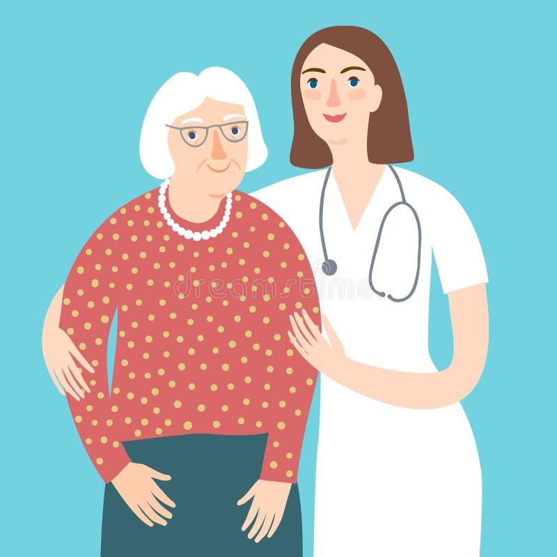 Doctor de la mujer y y señora mayor