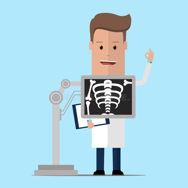 Doctor de Roentgenologist durante procedimiento del rayo del pecho x Ilustración del vector libre illustration
