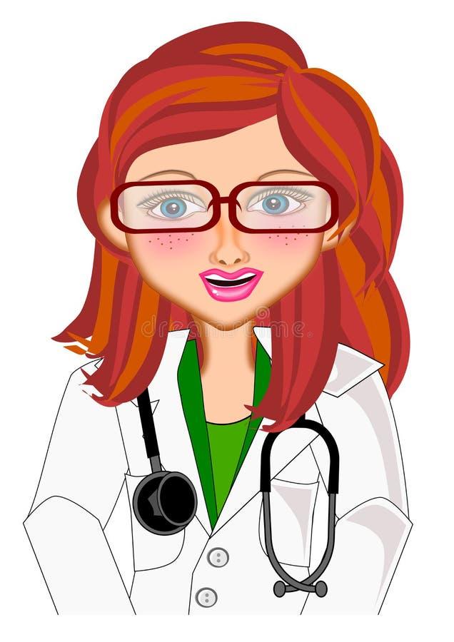 Doctor de sexo femenino aislado stock de ilustración