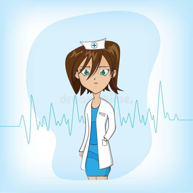 Doctor de sexo femenino de la historieta linda en fondo azul imagenes de archivo