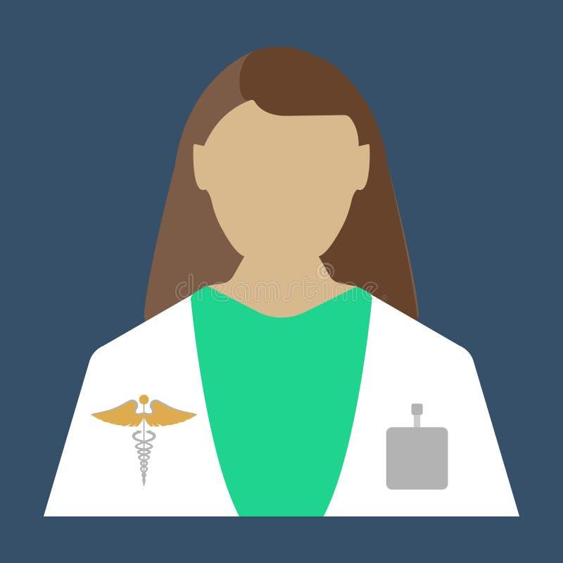 Doctor de sexo femenino Icono plano del objeto médico Ilustración del vector stock de ilustración