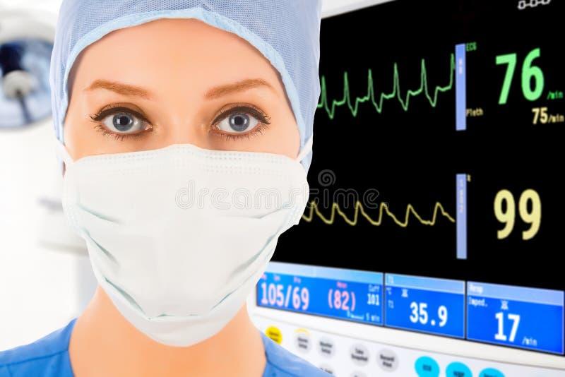 Doctor de sexo femenino joven en ICU imagen de archivo libre de regalías