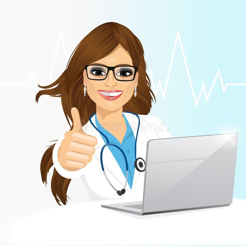 Doctor de sexo femenino joven que usa su ordenador portátil ilustración del vector