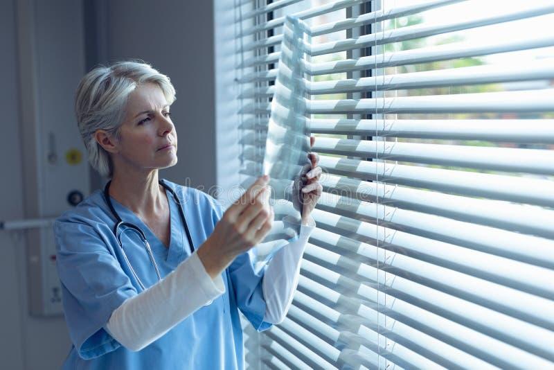 Doctor de sexo femenino que examina un informe de la radiografía en hospital foto de archivo libre de regalías