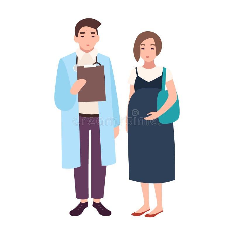 Doctor de sexo masculino, consejero médico, obstétrico o ginecólogo y paciente embarazada del mujer o femenino Visita a la clínic stock de ilustración