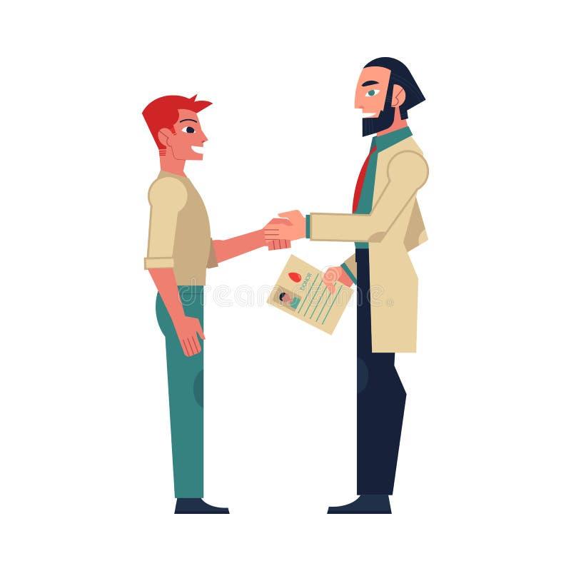 Doctor de sexo masculino plano que sacude la mano para servir al paciente stock de ilustración