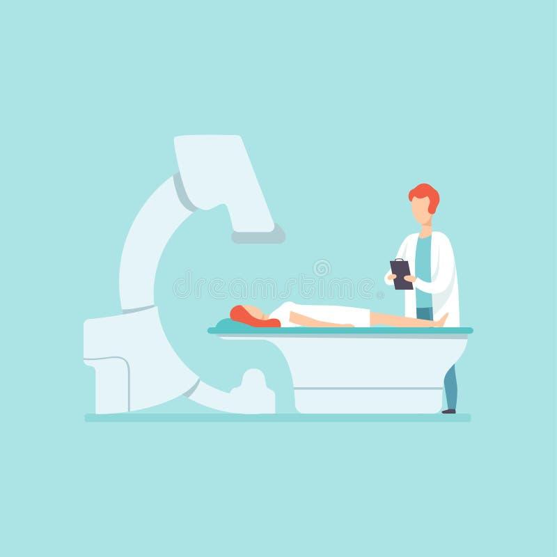 Doctor de sexo masculino que explora al paciente femenino con el equipamiento médico en clínica, el tratamiento médico y el vecto ilustración del vector