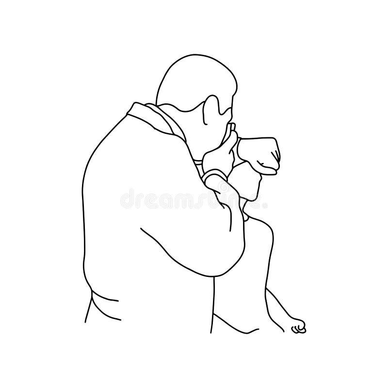 Doctor de sexo masculino que prueba el equipo óptico antes de usar encendido stock de ilustración