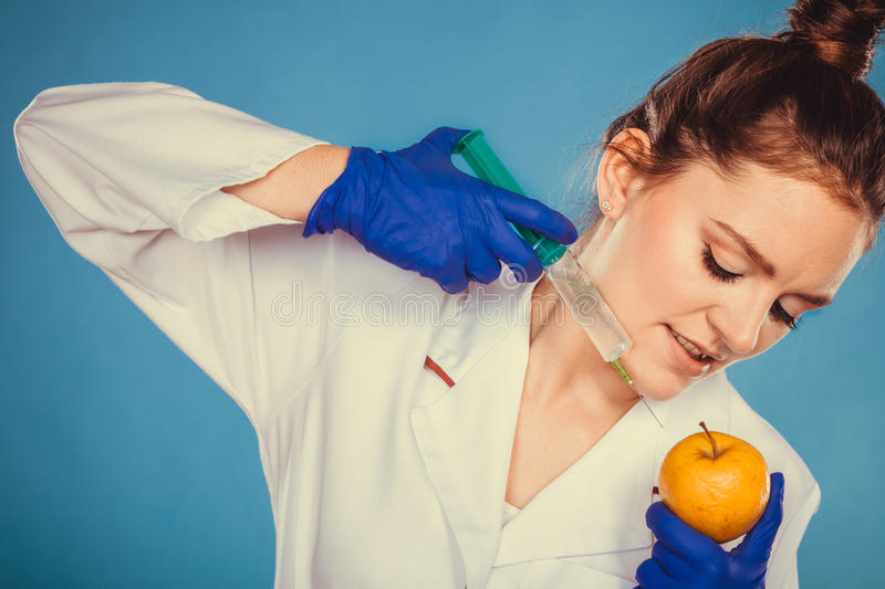 Doctor del científico que inyecta la manzana Comida del GM imagen de archivo libre de regalías