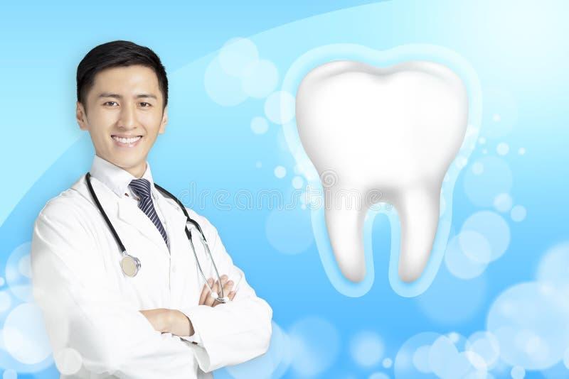 doctor del dentista que muestra el diente sano con concepto que brilla intensamente stock de ilustración