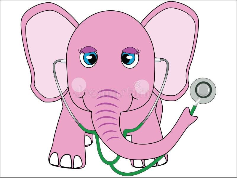 Doctor del elefante rosado stock de ilustración