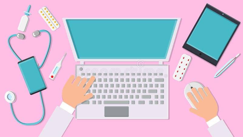 Doctor del hombre del vector que trabaja sus manos en el lugar de trabajo en la oficina con una opinión superior de la tableta de libre illustration