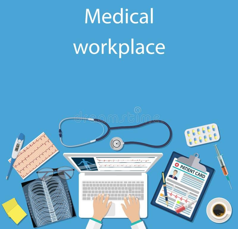 Doctor del lugar de trabajo en la tabla libre illustration