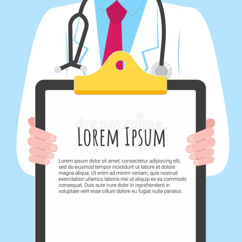 Doctor del primer con la tenencia un tablero con el texto libre illustration