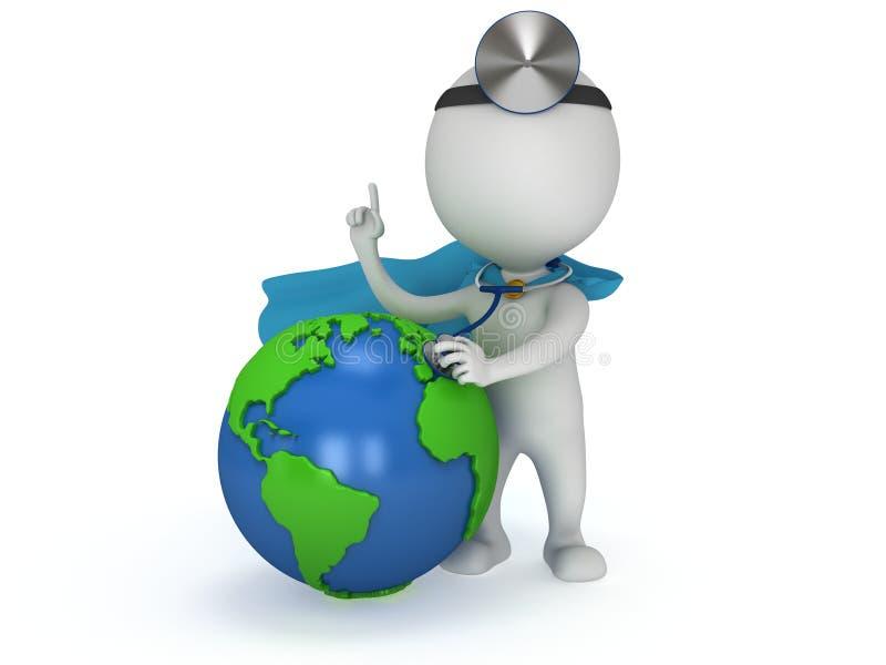 Doctor del super héroe con el globo de la tierra Concepto del día de salud de mundo stock de ilustración