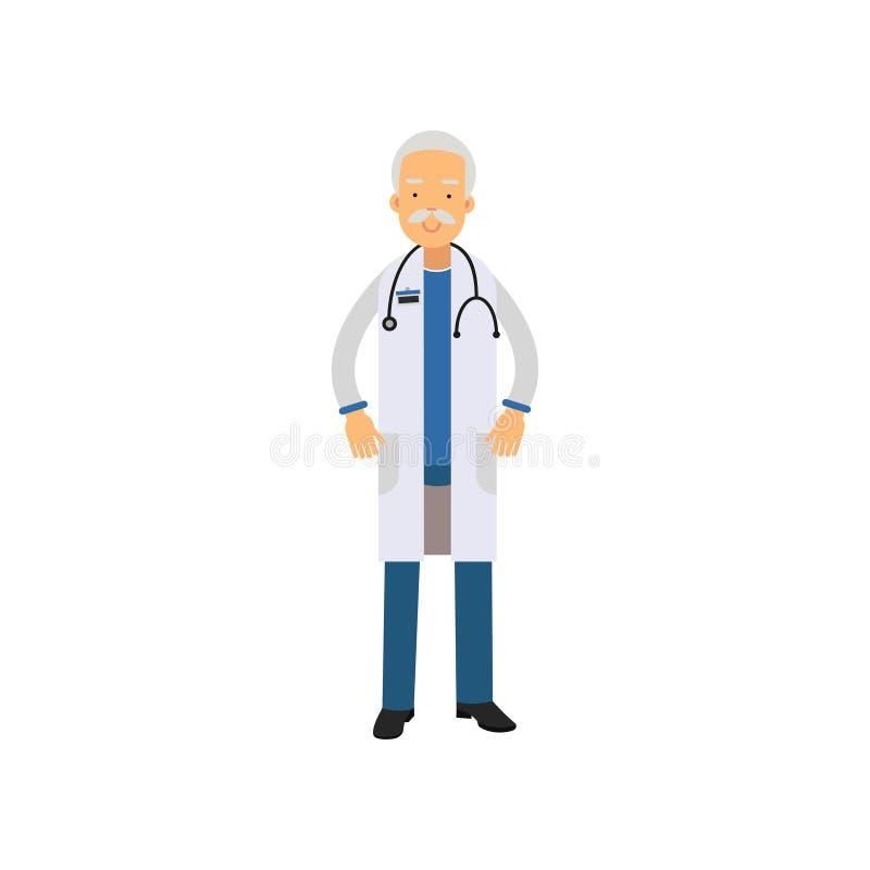 Doctor del viejo hombre en uniforme y estetoscopio alrededor de su cuello, colocándose aislado en el fondo blanco libre illustration