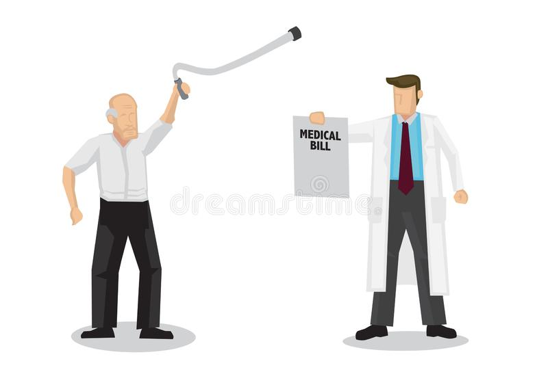 Doctor demands for medical bill from an old elderly man. Concept of healthcare and medicare. Flat isolated cartoon vector illustration royalty free illustration