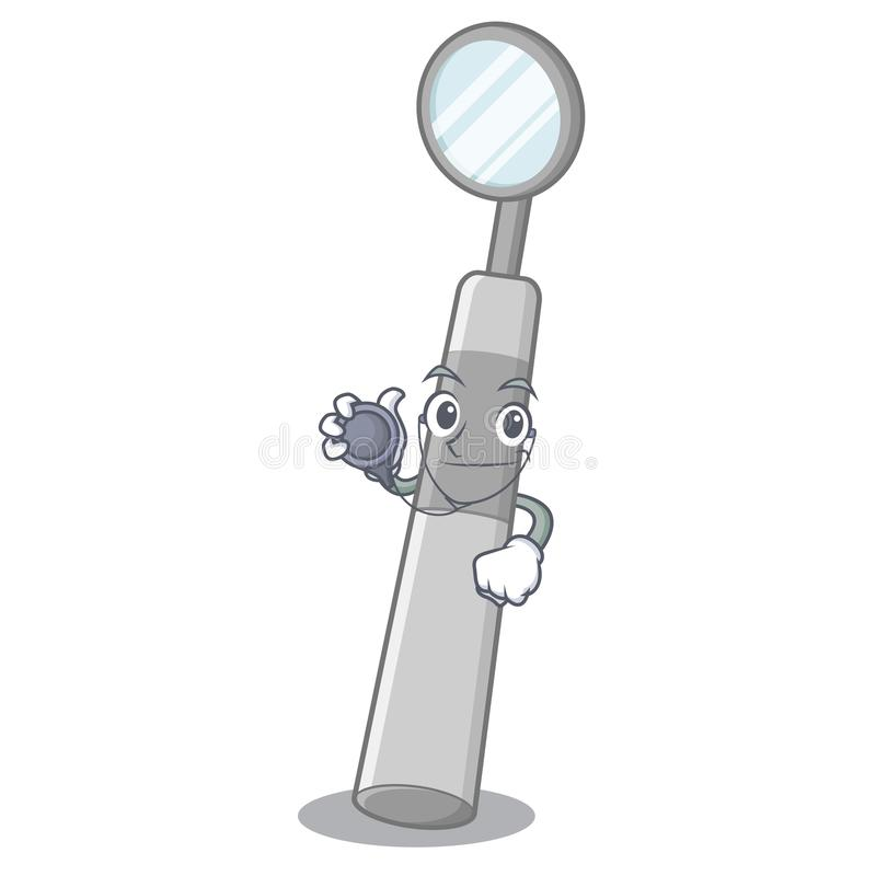Doctor dental mirror in the mascot shape royalty free illustration