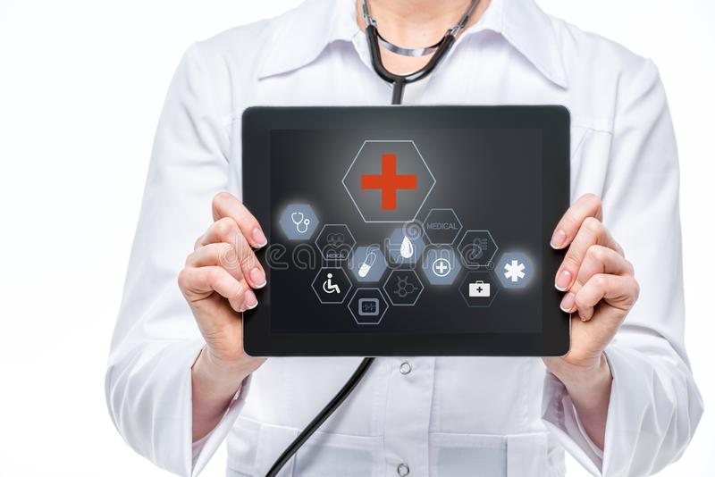 Doctor with digital tablet royalty free stock photos