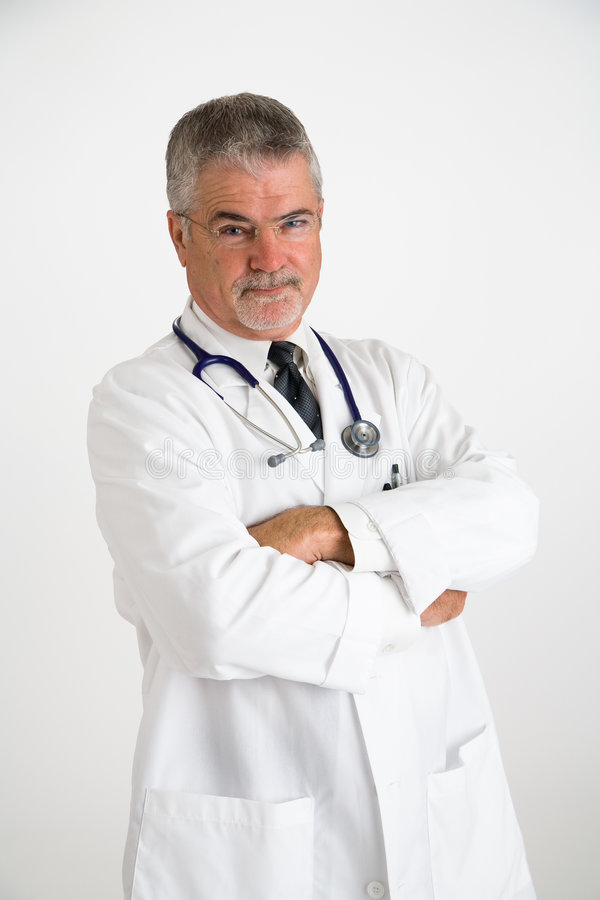 Doctor with disbelieving look stock photos