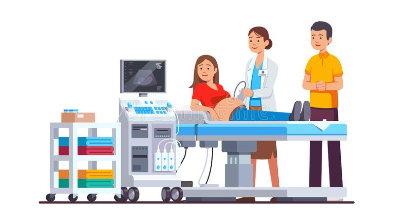 Doctor doing ultrasound checkup in clinic office. Doctor doing ultrasound fetus screening checkup in clinic office. Pregnant woman, husband couple visiting stock illustration