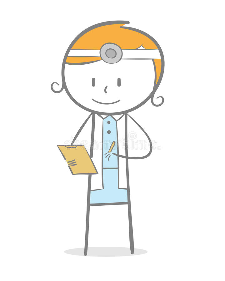 Doctor. Doodle stick figure: A doctor checking her patient data vector illustration