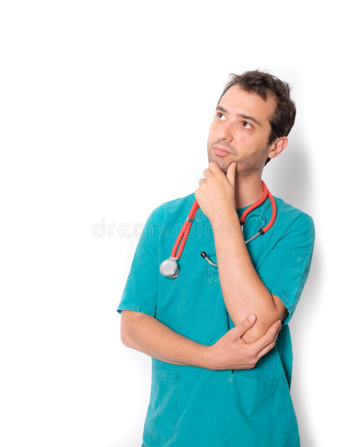 Doctor with doubtful expression isolated on background stock images