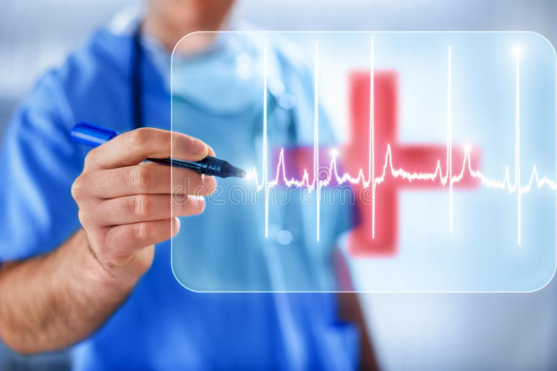 Doctor drawing heart pulse on transparent background with red cr. Doctor drawing heart pulse on transparent white background with red cross royalty free stock image
