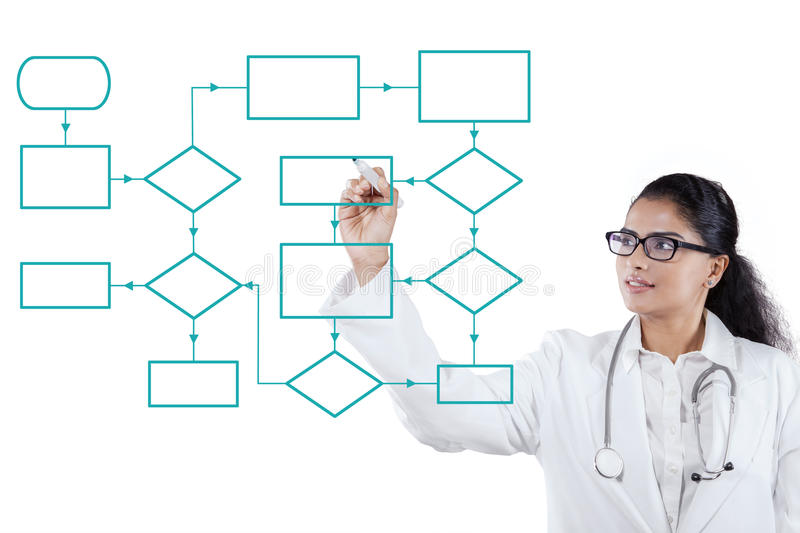Doctor drawing a workflow scheme. Portrait of Indian female doctor drawing a workflow scheme with a marker on the whiteboard royalty free stock images
