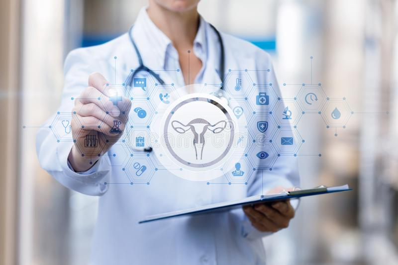The doctor draws a treatment regimen of the female uterus royalty free stock photos