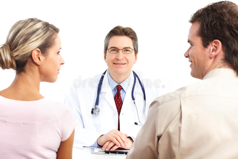 Doctor and elderly couple stock image