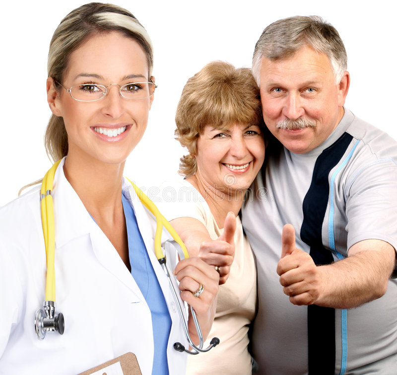 Doctor and elderly couple stock images