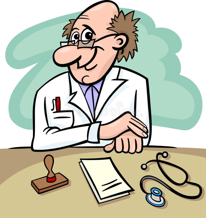Doctor en el ejemplo de la historieta de la clínica stock de ilustración