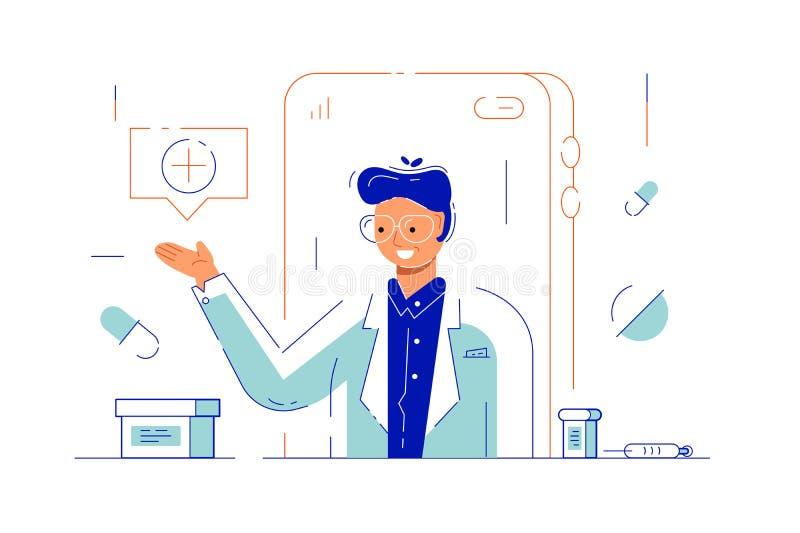 Doctor en línea vía el uso de Internet stock de ilustración