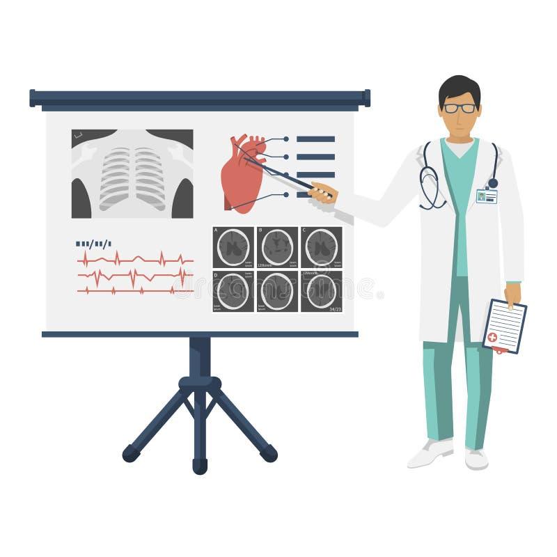 Doctor en la capa blanca con el indicador cerca del tablero libre illustration