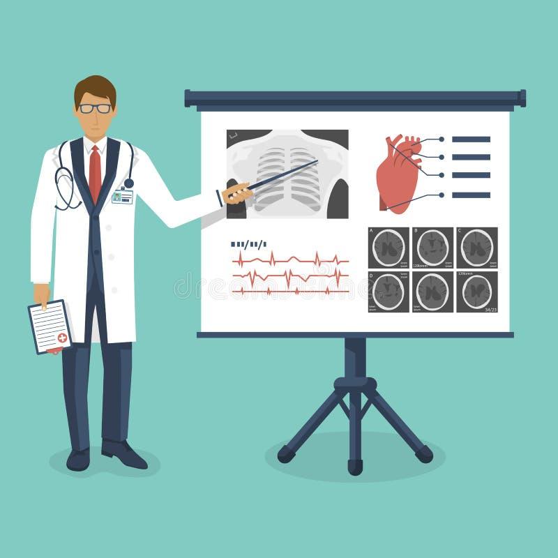 Doctor en la capa blanca con el indicador cerca del tablero ilustración del vector