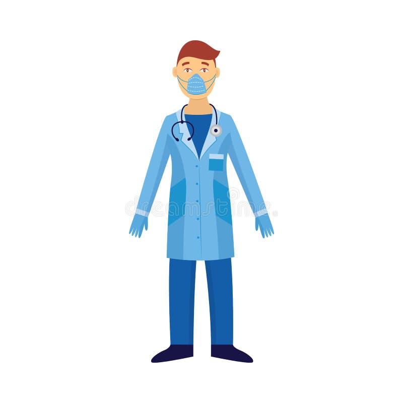 Doctor en la máscara de la seguridad del traje protector y del virus aislada en el vector plano blanco libre illustration