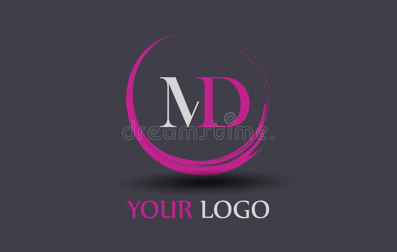 Doctor en Medicina M D Letter Logo Design ilustración del vector