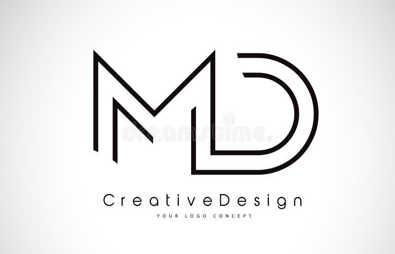 Doctor en Medicina M D Letter Logo Design en colores negros ilustración del vector