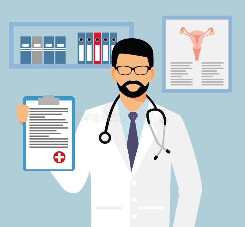 Doctor en vidrios con una hoja de la asignación en su mano ginecólogo en el ejemplo del vector de la oficina Médico con el stetho libre illustration