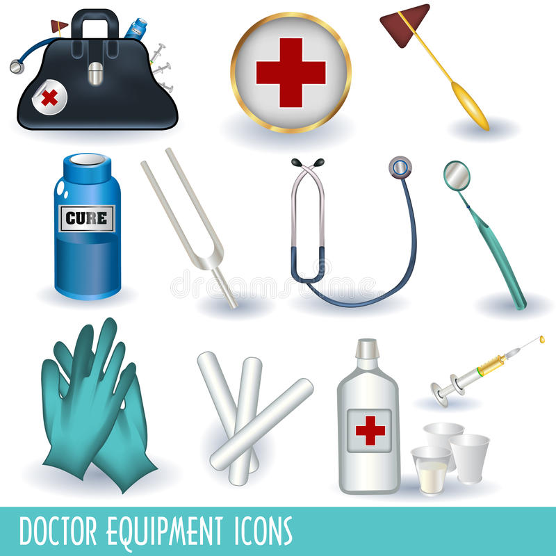 Doctor equipment icons. Set of 12 different doctor equipment icons separately grouped and isolated on white background vector illustration