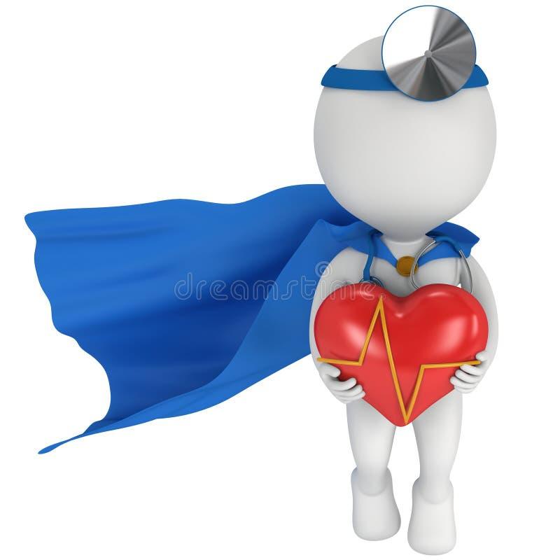 Doctor estupendo con un corazón rojo con el cardiograma stock de ilustración