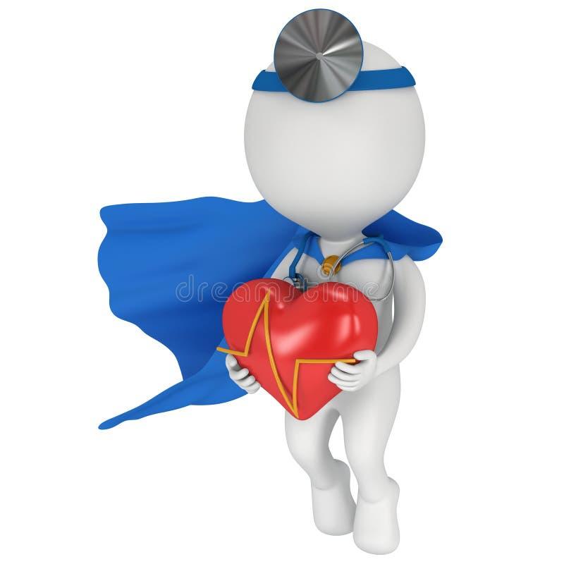 Doctor estupendo con un corazón rojo con el cardiograma ilustración del vector