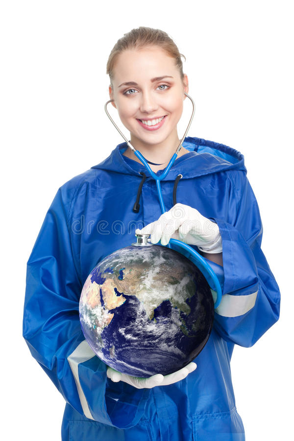 Doctor exam earth stock images
