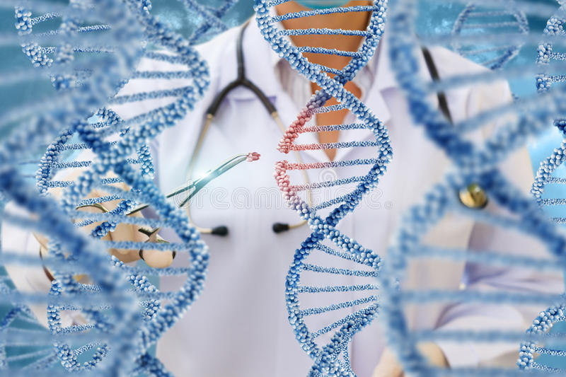A doctor examines DNA molecules . A doctor examines DNA molecules on a blue background stock images