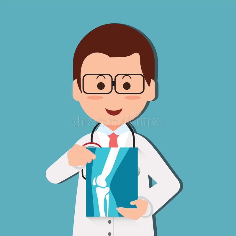 Doctor examining chest x-ray film of patient at hospital. Doctor examining chest x-ray film of patient at hospital, cartoon character vector illustration royalty free illustration