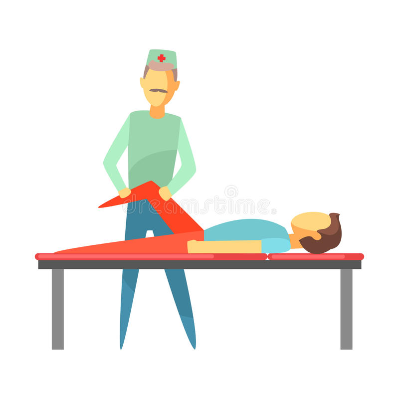 Doctor examining leg of young man lying on a bed. Colorful cartoon characters. Doctor examining leg of young man lying on a bed. Medical care concept. Colorful stock illustration